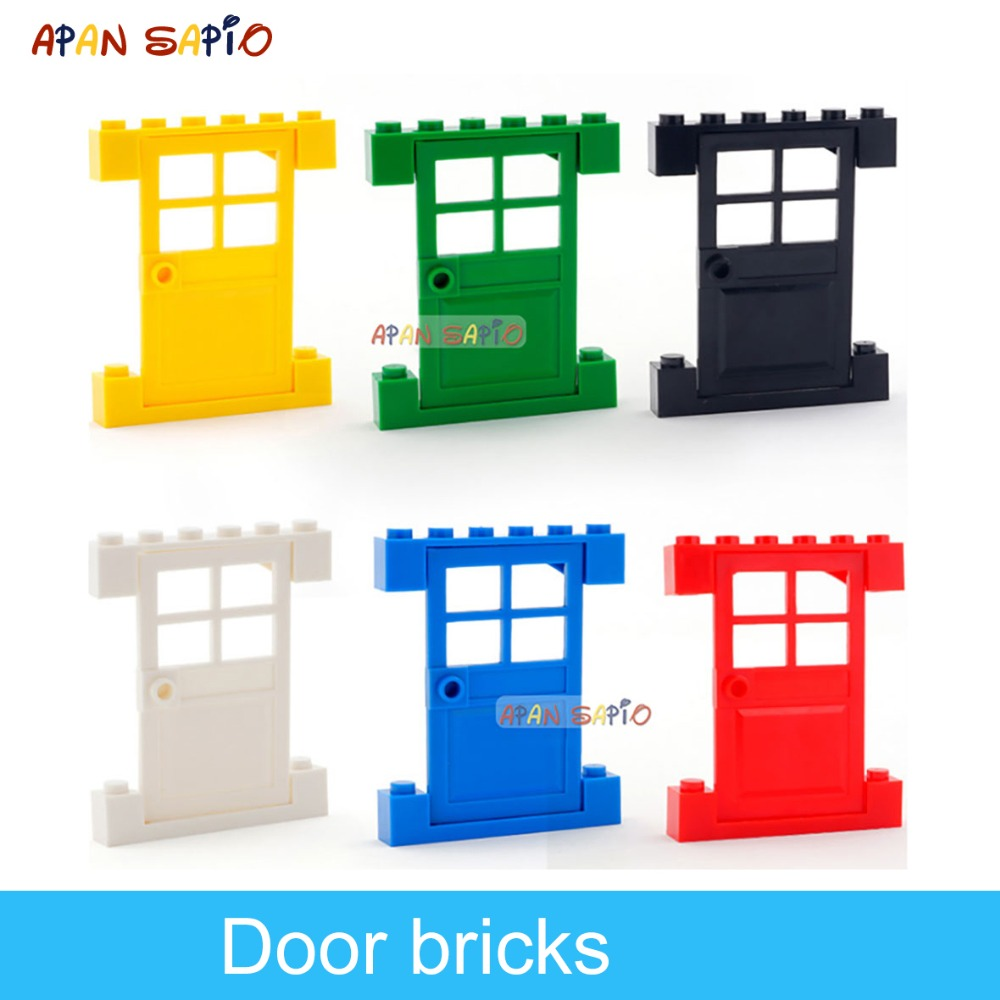 DIY Building Blocks Figures Bricks Door Or Window 12Suit Lot 6Color Educational Creative Compatible With Legoe Toys For Children