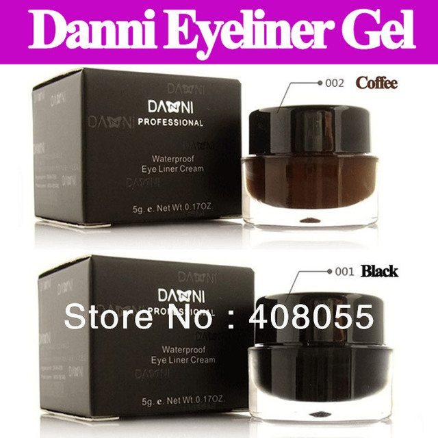 2pcs/lot Professional makeup Danni eyeliner gel Waterproof black coffee eyeliner gel cream with brush high quality SG post free