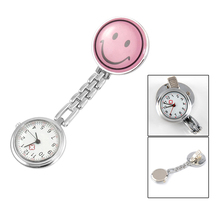 Wholesale New Pink Smiling Face Design Brooch Arabic Numerals Nurse Watch For Women