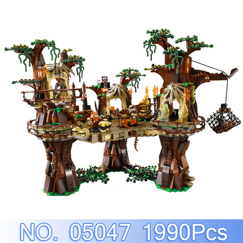 Lepin 05047 1990Pcs Star Wars Figures The Ewok Village Model Building Kits Blocks Bricks Toys For Children Compatible With 10236 lepin 05048 543pcs star war seiers the tie striker building blocks bricks figures toys compatible with 75154