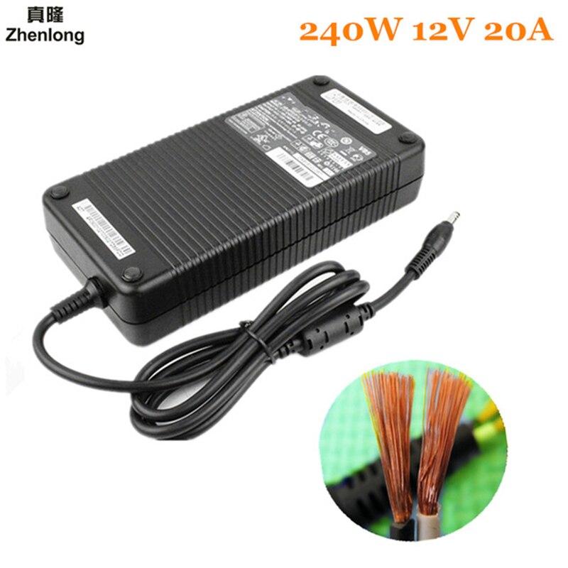 Zhenlong 240 w conversor de energia ac 220v (100 ~ 250 v) entrada dc 12 v 20a led strip led barra luz saída adaptador fonte alimentação + plug