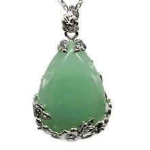 2019 Natural Teardrop Green Aventurine Quartz Stone Pendant Necklace women luxury ladies quartz 925 sterling silver