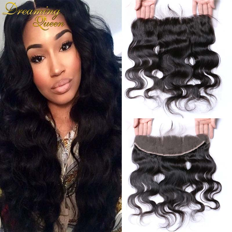 --DHL Free Shipping Brazilian Body Wave Lace Frontal Closure 7A Grade Bleached Knots Human Hair 13X4 Ear to Ear With Baby Hair