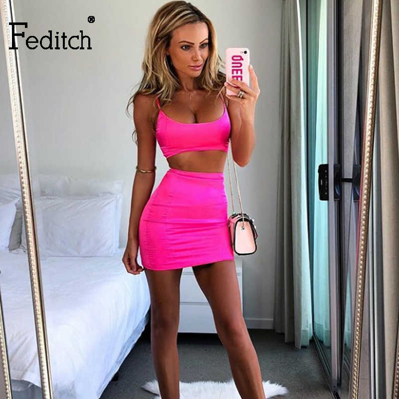 Feditch Spaghetti Strap Sexy Bodycon Dress Women Solid Two Piece Party  Dresses Satin Casual Ladies reflective ba691cc3313d