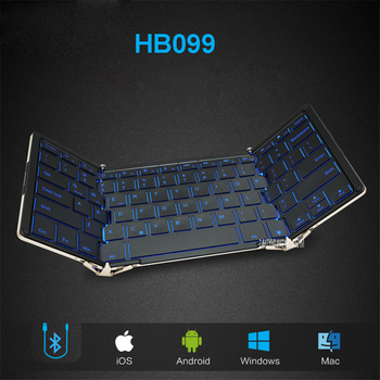 Folding wired Bluetooth keyboard HB099  Andrews flat-panel mobile phone notebook general small portable backlight Keyboards
