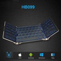 Składana przewodowa klawiatura Bluetooth HB099 Andrews płaski telefon komórkowy notebook ogólne małe przenośne klawiatury podświetlane