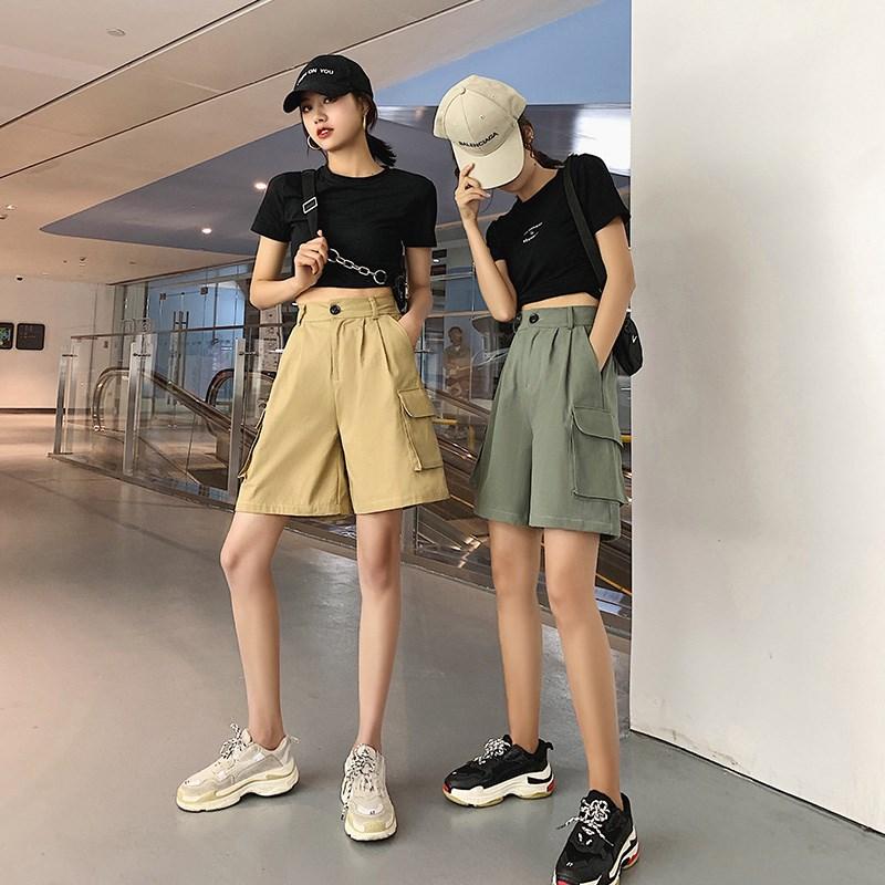 Women Summer Ulzzang Commuting Loose Cotton Shorts Female Harajuku Bf High Waist Five Points Wide Leg Korean Half Knee Length
