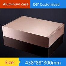 2U de aluminio lleno chasis del amplificador/instrumentación cáscara/DIY cubierta de aluminio/AMP Recinto/caja/caja DIY (438*88*300mm)