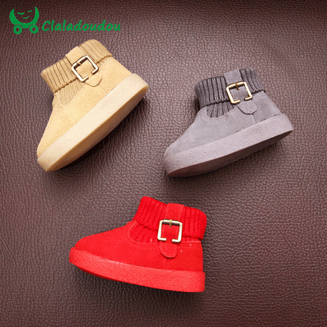 2016 Booties For Babies Girl Yellow Gray Red Baby Boy Walking Shoes Warm Pure Sneakers Baby Infant Boots Toddler Boy Shoes 0-2Y