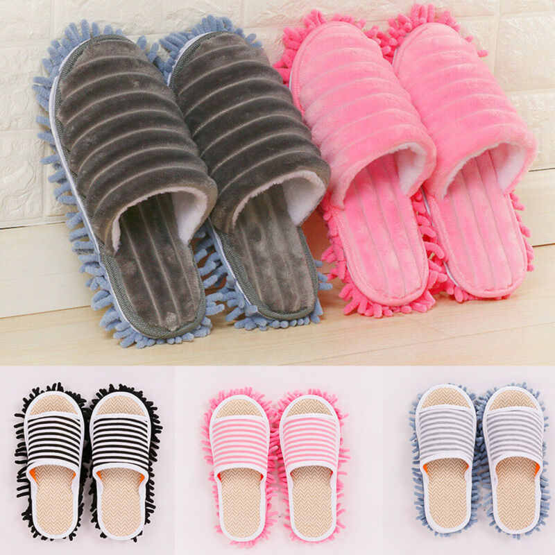 home floor dusting shoes cleaning coral stripe Mop slippers clean washable New