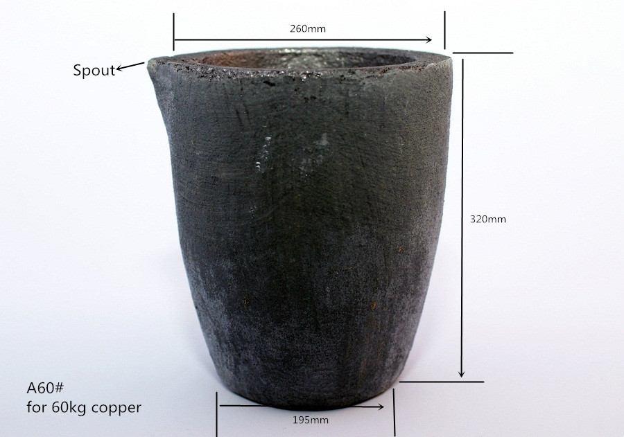A60# Silicon Carbide Graphite Crucible    with spout for 60kg copper melting or 20kg aluminum casting