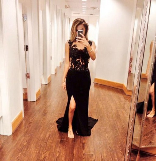 Sexy Lace Black Long   Prom     Dresses   Cap Sleeve Lace Chiffon with Front Slipt Party Gowns Custom Made Vestidos de Novia ZY4541