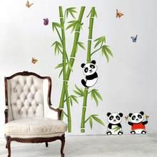 Зеленые Бамбуковые наклейки на стену на лесную тему панды, виниловый материал, декоративное настенное искусство для украшения гостиной, ка...