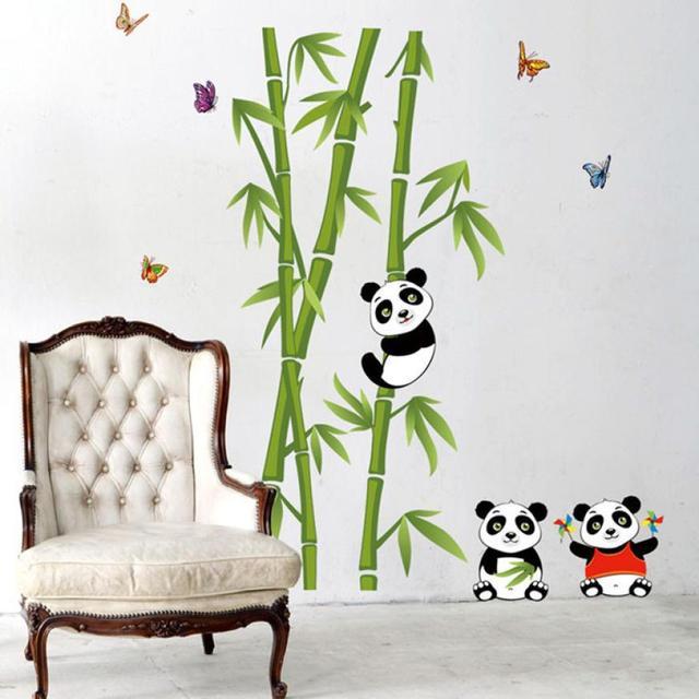 Panda de bamb verde bosque Adhesivos de pared material de vinilo