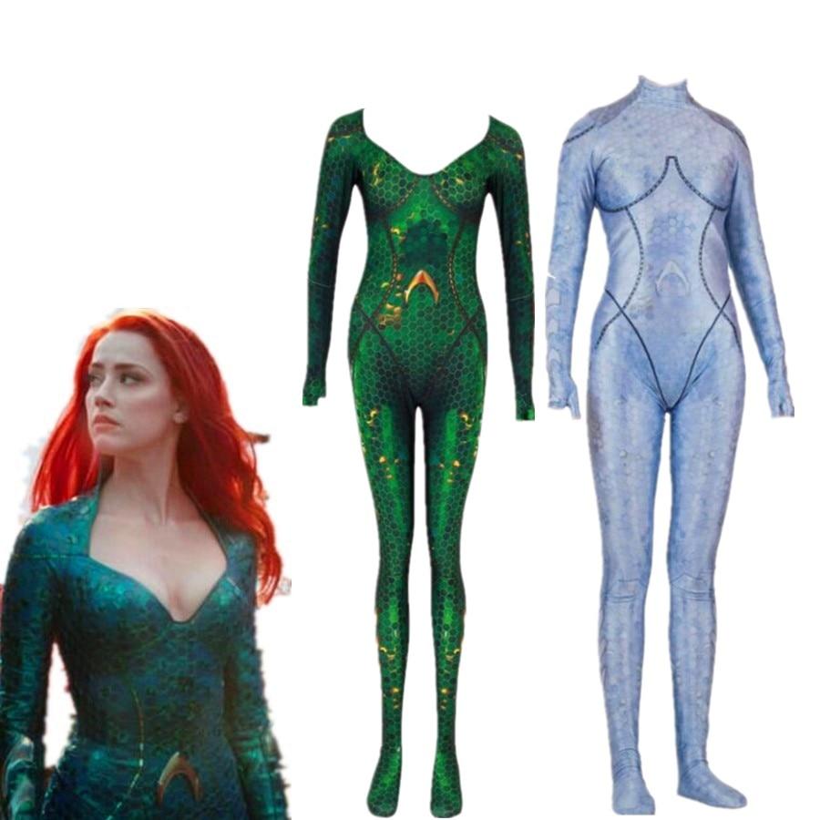 Aquaman Mera Atlanna Queen Bodysuit Cosplay Costume Jumpsuits Halloween For Woman Adult Zentai Cosplay Costume