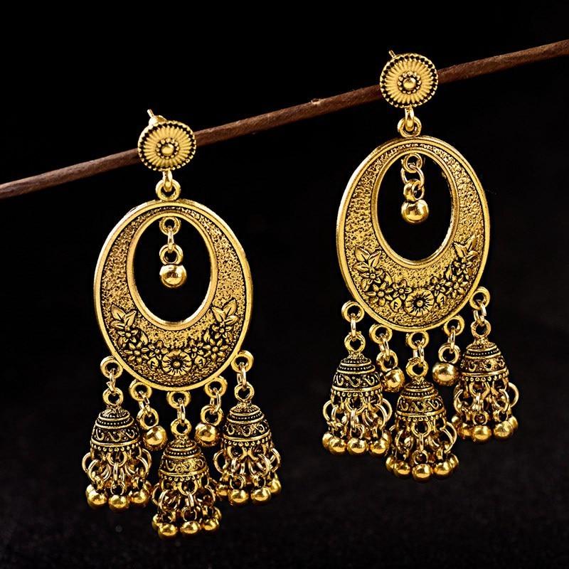 Gold Egypt Vintage Jhumka Bells Tassel Earrings For Women 2019 Vintage  Turkish Tribal Gypsy Water Drop Indian Jewelry