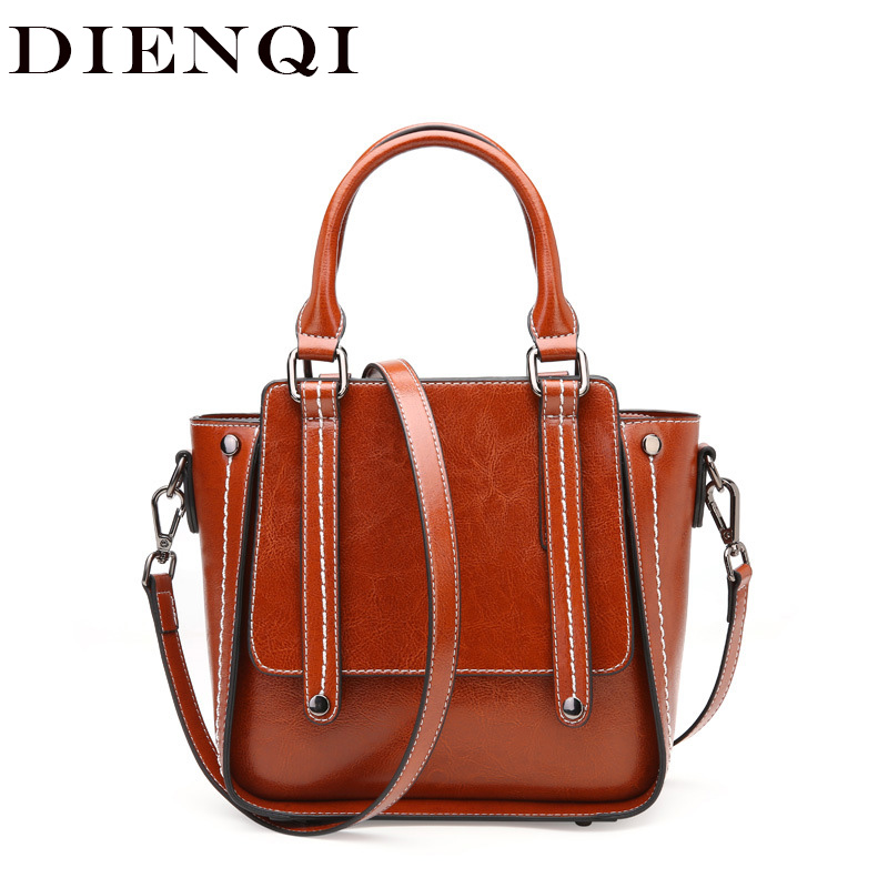 DIENQI New Trapeze Women Genuine Leather Bag Famous Brand Fashion Small Handbags 2019 New Designer Ladies