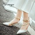 Big size 32-43 women pumps fashion Spring/Autumn Rivets decoration punk sandals Sexy Pointed Toe thin heel wedding high heels