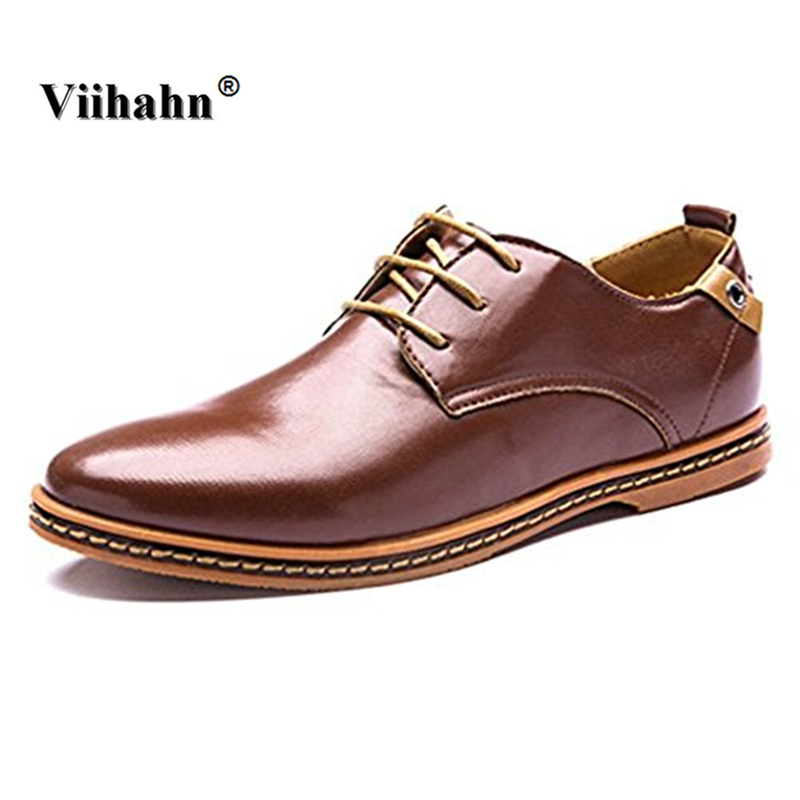 Viihahn Mens Shoes Business PU leather Casual Shoes Spring Breathable Dress Shoes Flats Pius Size 38-48