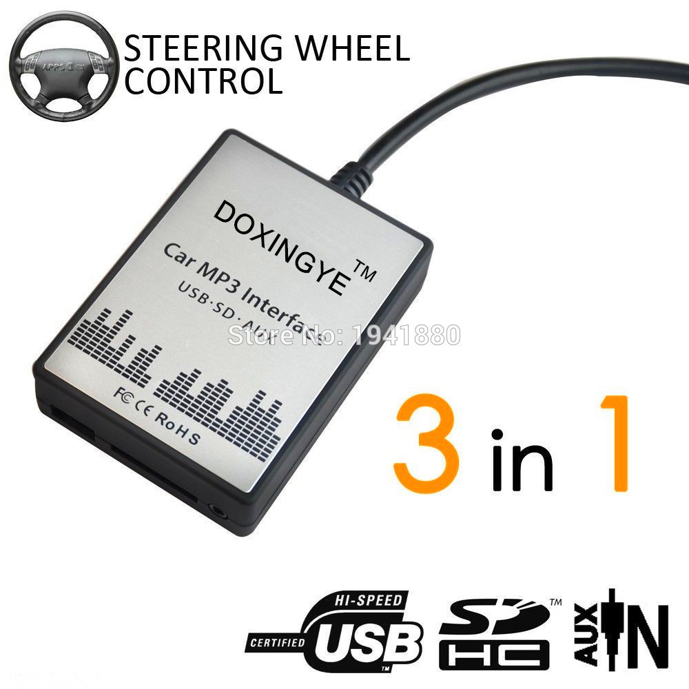 DOXINGYE USB SD AUX Car MP3 Player Music CD Changer Audio Adapte For  Peugeot 307 407 Citroen C4 C5 RD4 12PIN Interface
