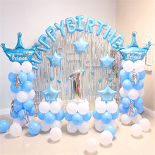 Balloons Decoration Happy Birthday Party Decorations Kids Background Wall Blue Balloon 1st Supplies Globos