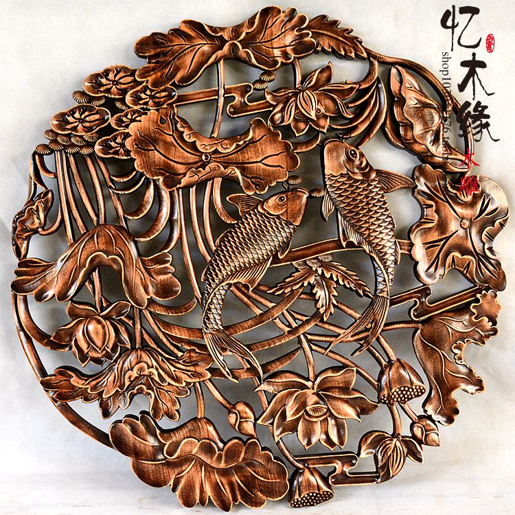 Dongyang woodcarving circular pendant Chinese living room background wall hanging antique wood carving lotus carp chic lotus pattern removeable decorative background wall sticker