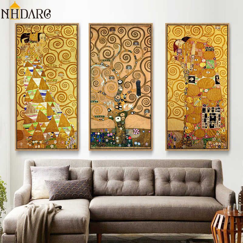 3 Panels Gustav Klimt Kiss life Tree Posters and Prints Wall Art Canvas Paintings Pictures for Living Room Hallway Home Decor