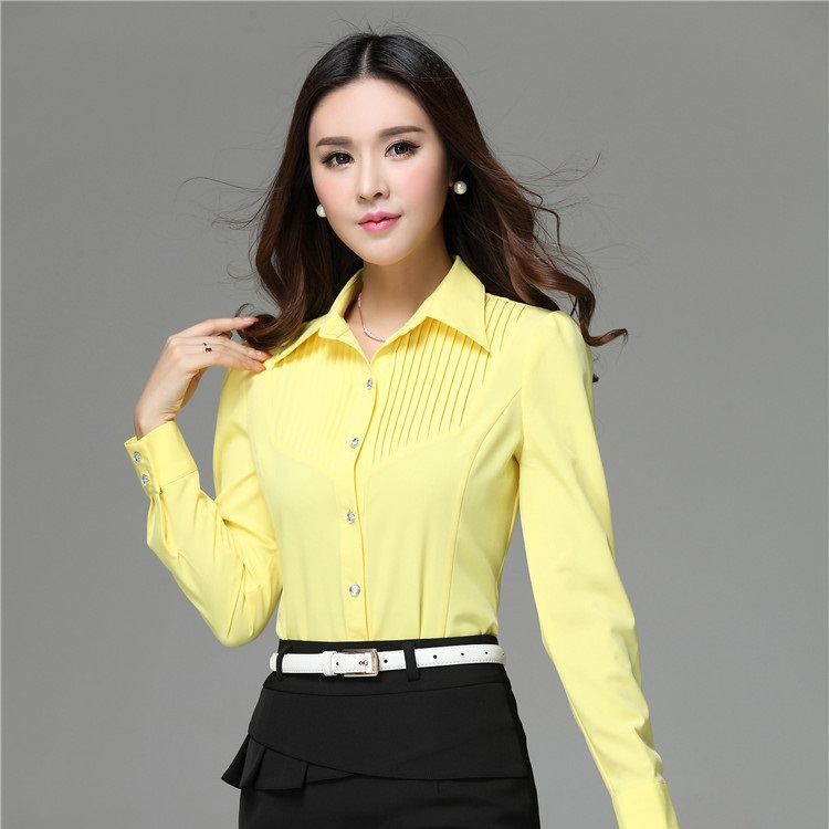 Spring 2015 New Formal Yellow Shirts Women Long Sleeve Work ...