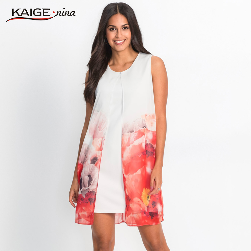 US $16.49 45% OFF|Kaigenina Plus Size Women Summer Elegant Print Dress  Casual Sleeveless O Neck Mini Dress Bohemian Style Beach Dress 18092-in  Dresses ...