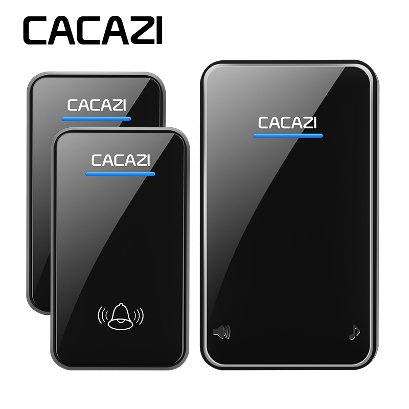 CACAZI sans fil sonnette date étanche LED AC 100-240 V EU/US/UK plug sonnette de la porte 300 M à distance 48 anneaux 6 volume porte carillon