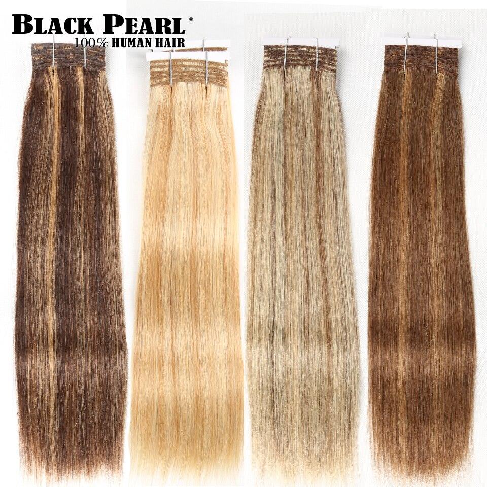 Balayage-extensiones de cabello humano liso brasileño, Remy, Perla Negra, sedoso, color P4/27, 1 ud.