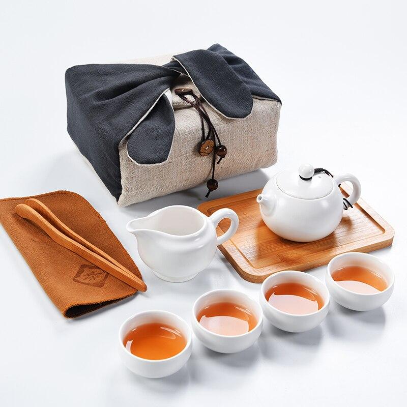 Nouvel an chinois Kung Fu ensembles de thé tasses de restauration rapide sacs portables simples voyage en plein air ensembles de thé de luxe ensemble de thé chinois Porcelai