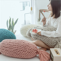 Hap deer creative candy handball pillow nordic design cushions home decor handmade wool sofa cushion solid color knitted coussin