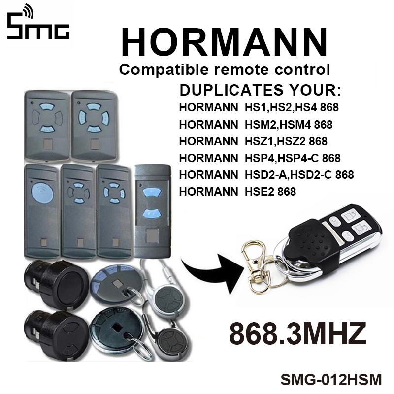 1PCS 4 Channel Hormann HSM4 868 Mhz Garage Gate Opener Compatible With Hormann HSM2 HSM4 868MHz Gate Garage Door Remote Control
