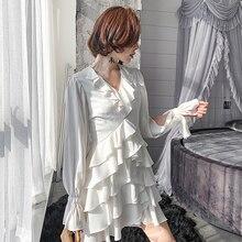 YIGELILA Women Ruffles Dress Summer Fashion Elegant V-neck Lantern Sleeve Hollow Out Empire Slim Knee Length 64427