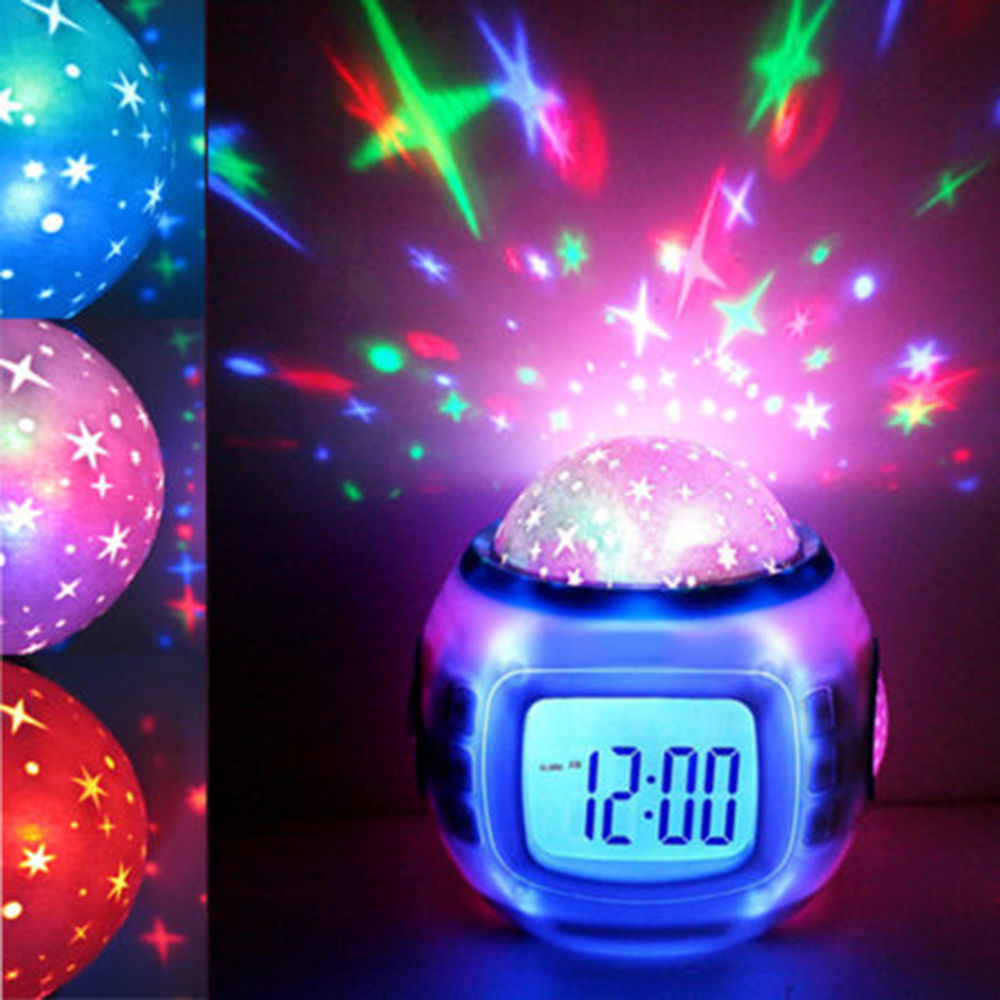 Creative Music Led Star Sky Projection Digital Alarm Clock Calendar Thermometer