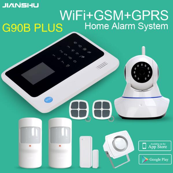 G90B PLUS GSM WIFI HOME SECURITY ALARM APP control PIR detektor sensor mini draht sirene 2MP wifi IP PTZ Kameras