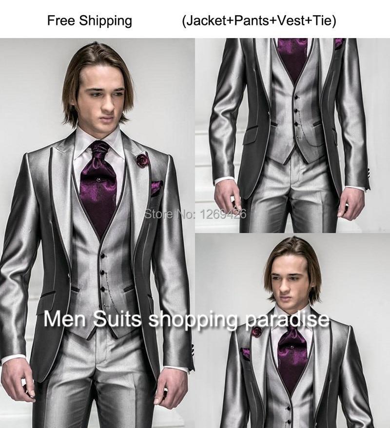 2016 Customized Black Design Groom Tuxedos Men Wedding Party Suits
