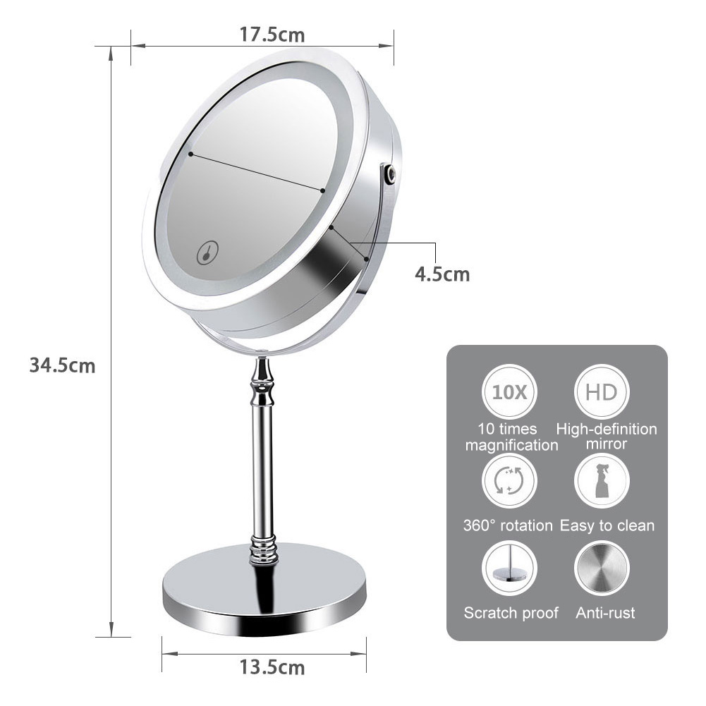 Hot Sale 7Inch Double Sided Makeup Mirror 10x Magnified Dimmable 360 Swivel Mirrors for Bedroom Bathroom все цены