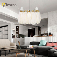 TRAZOS Glod Fashional super thin Modern chandeliers circle Feather led chandelier light for indoor lighting 50CM 60CM