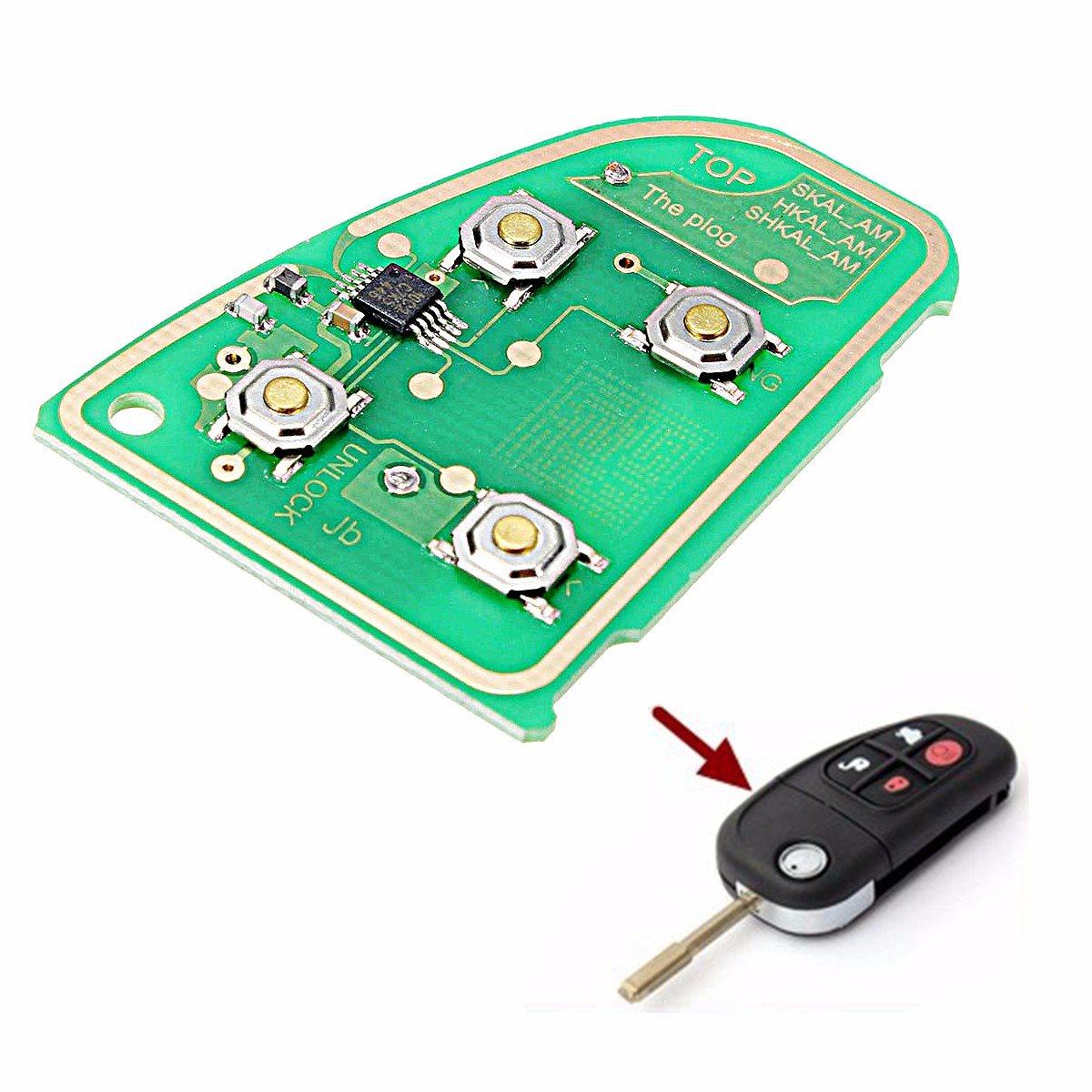Circuito X : 433 mhz circuito clave para jaguar x tipo xj xjr 4 botón flip remoto