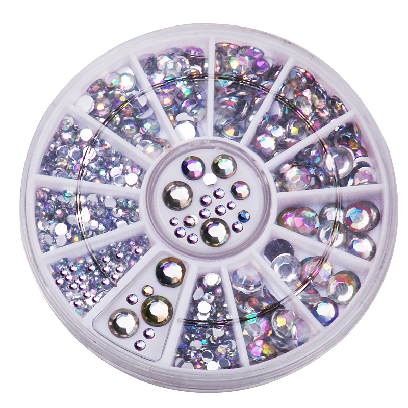 Biutee nail decoration rhinestone 5 sizes silver for Acrylic nail decoration supplies