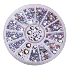 Biutee Nail Decoration Rhinestone 5 Sizes Silver Multicolor