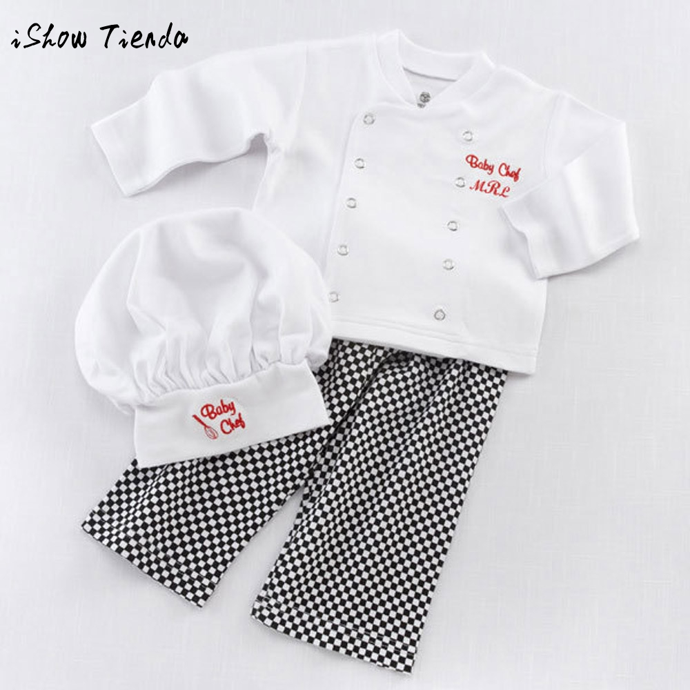 3pcs Chef Cosplay baby boy clothes summer kids t shirt for boys Tops+Pant baby cap for newborns baby jongen boys set boys outfit 2pcs children outfit clothes kids baby girl off shoulder cotton ruffled sleeve tops striped t shirt blue denim jeans sunsuit set