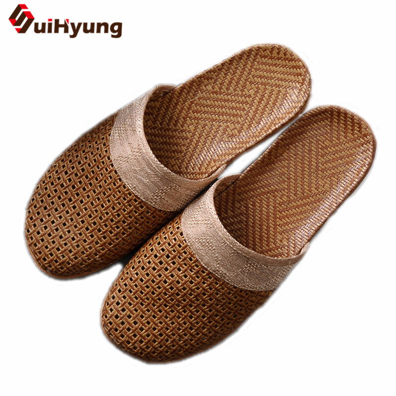 Summer New Men's Slippers Comfortable Breathable Linen Indoor Slippers Anti-slip EVA Soles Home Shoes Beach Slippers