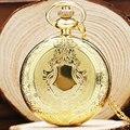 Vintage Retro Escudo de Plata de Oro de Cuarzo Reloj de Bolsillo Collar de Cadena Hombres Mujeres Regalo Relogio De Bolso
