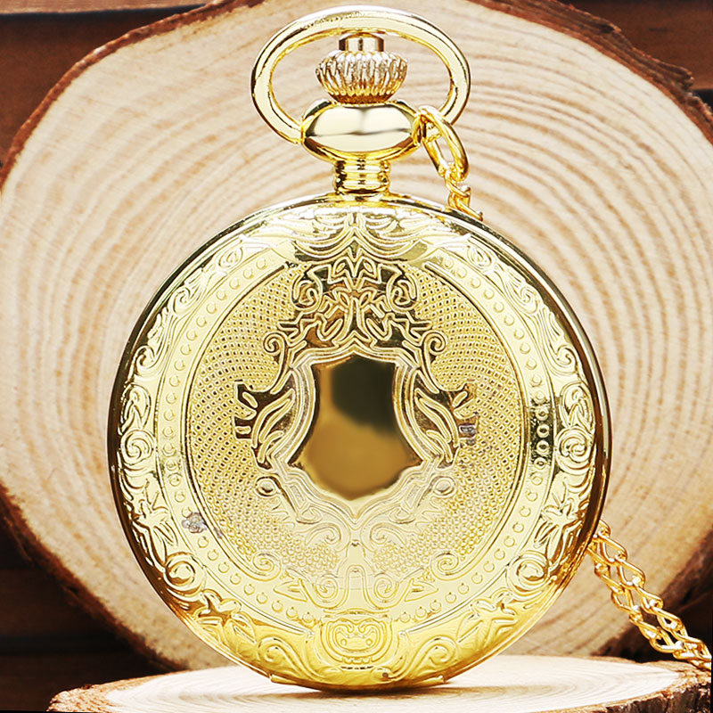 Vintage Retro Gold Silver Shield Quartz Pocket Watch Necklace Chain Men Women Relogio De Bolso Gift