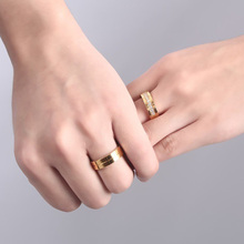 Stainless Steel Wedding Ring For Lovers IP Gold Color Crystal CZ Couple Rings Set