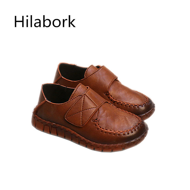 2017 spring new children's shoes low to help ultra-fiber leather shoes fashion HOOk & LOOP solid color boys girls casual shoes