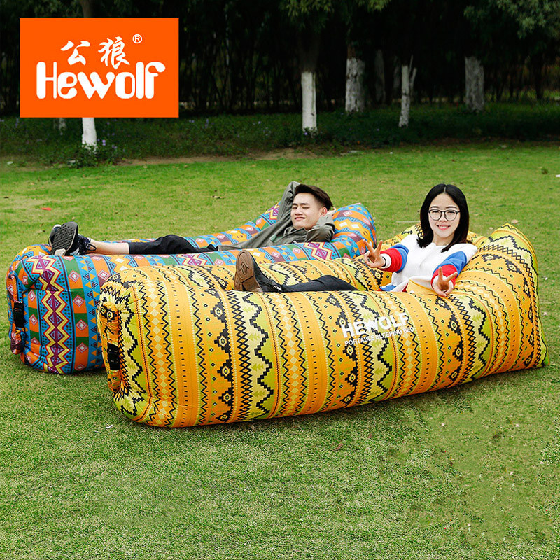 Hewolf lazy bag inflatable air sofa lounger laybag sleeping bag portable air bed for travelling camping beach park backyard lazy sofa wholesale air ounger bag camping for beach laybag saco de dormir acampamento inflatable kaisr laybag z126